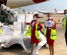 Virgin flies essential medical supplies from China